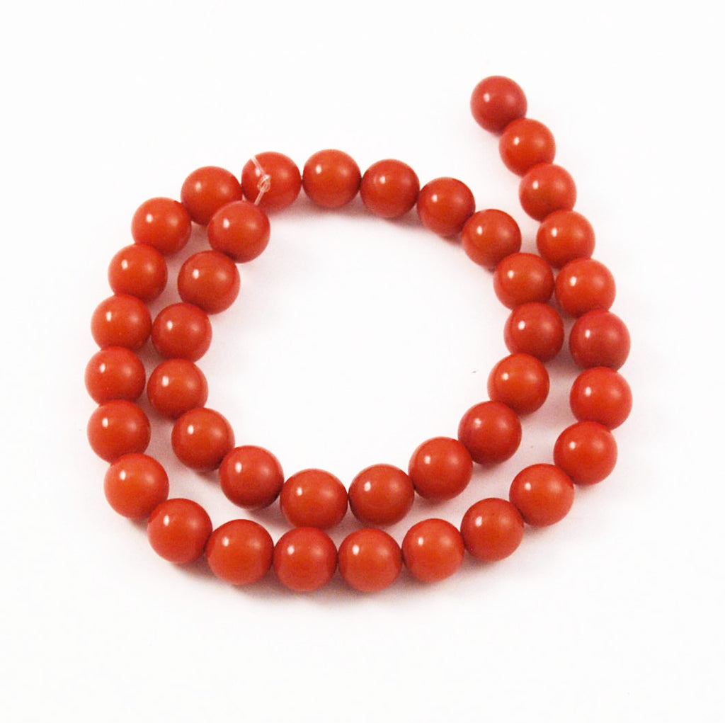 Rust Orange Buri 10mm Round Bead Strands