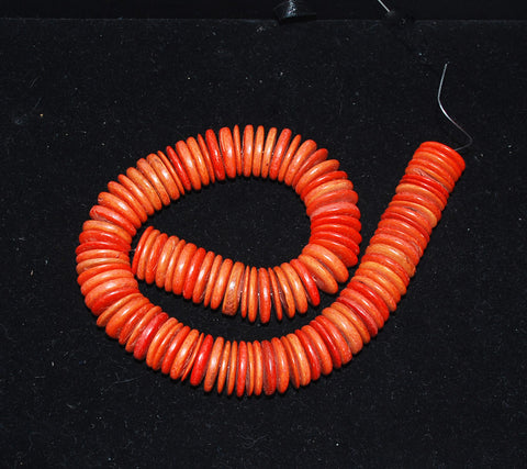 Orange Coco Disk Bead Strands 18mm