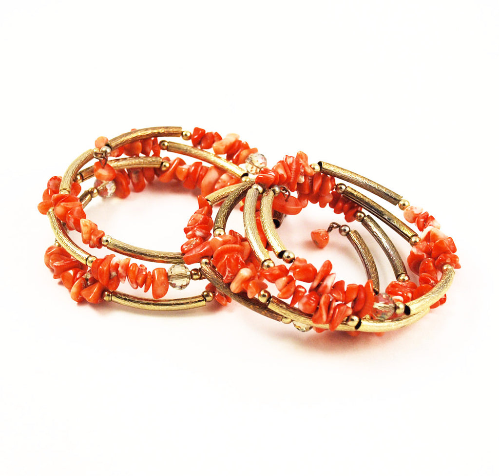 Pair of Orange Coral & Gold Bracelets