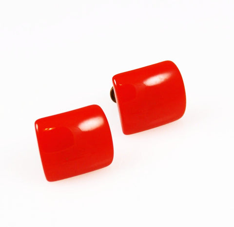 Vintage bright orange Lucite Screwback earrings
