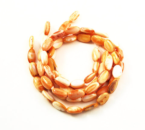 Orange Spiny Oyster Shell Oval Beads