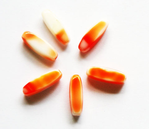 Orange & White Glass Tube Beads 18mm