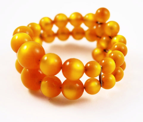 Golden Amber Moonglow Beaded Vintage Bracelet