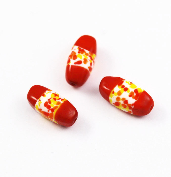 Orange Japanese Spatter Glass Beads