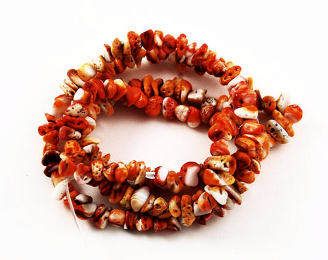 Orange Spiny Oyster Shell Chip Beads