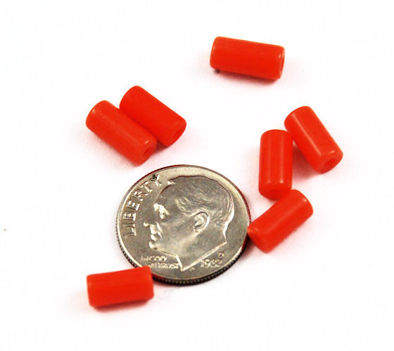Orange Faux Coral Glass Tube Beads
