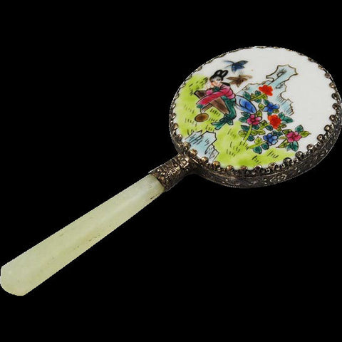 Oriental Painted Porcelain Hand Mirror with Geisha Girl Scene