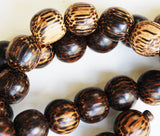 Old Palmwood Wood Bead Strands