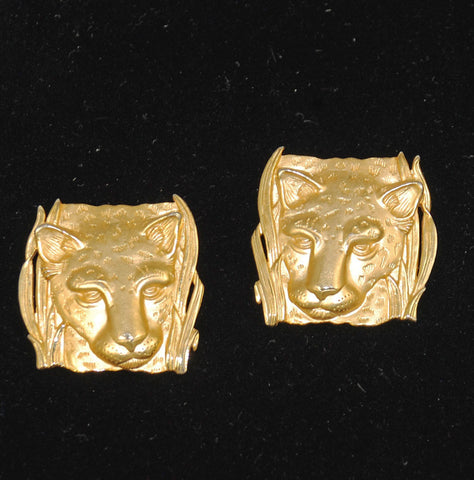 Parklane Gold Lion Clip On Earrings