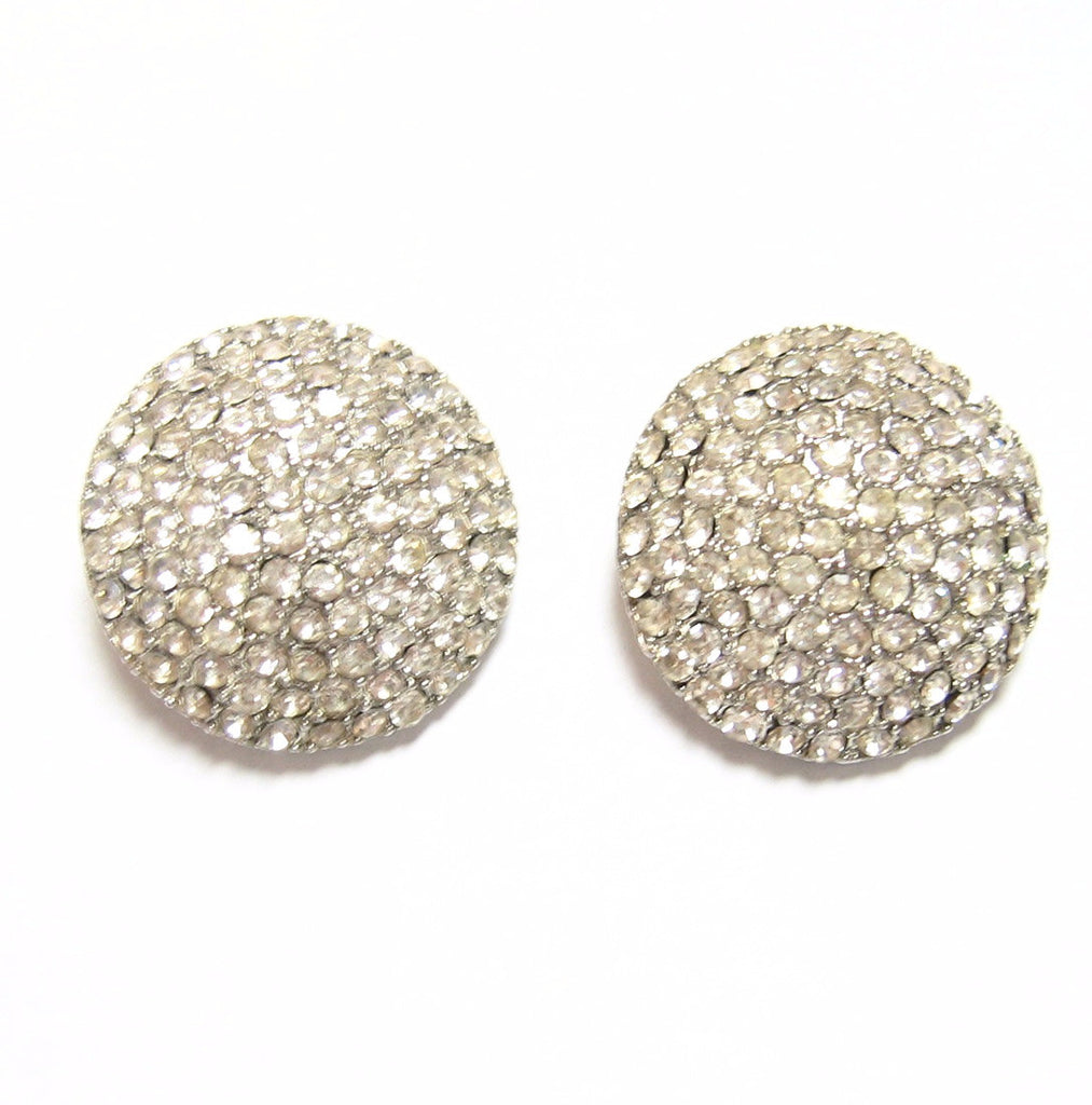 Pave Rhinestone Clip On Earrings Vintage