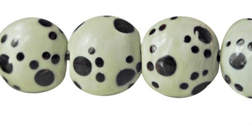 Paw Print Black & White Glass Beads