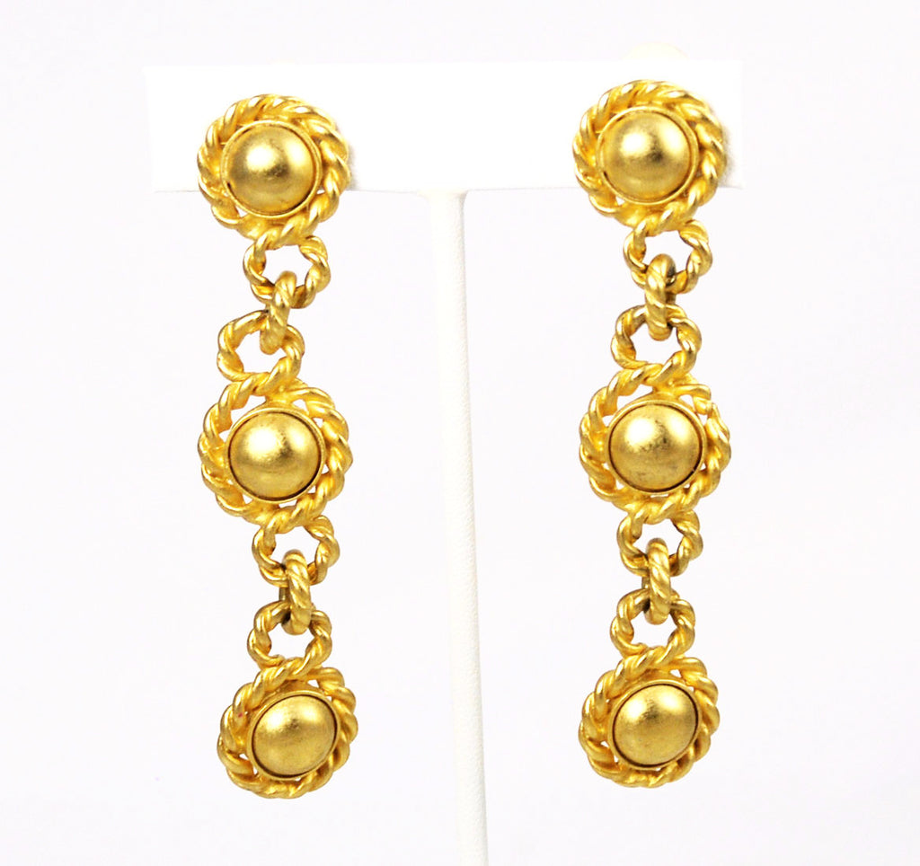 Erwin Pearl Gold Dangle Clip On Earrings