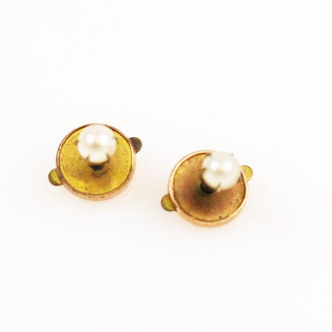 Antique Gold Pearl Earrings Victorian