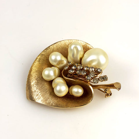 Pearl and Rhinestone Gold Orchid Brooch