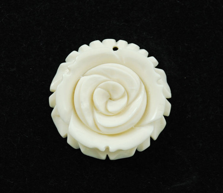 Carved Bone White Rose Pendant