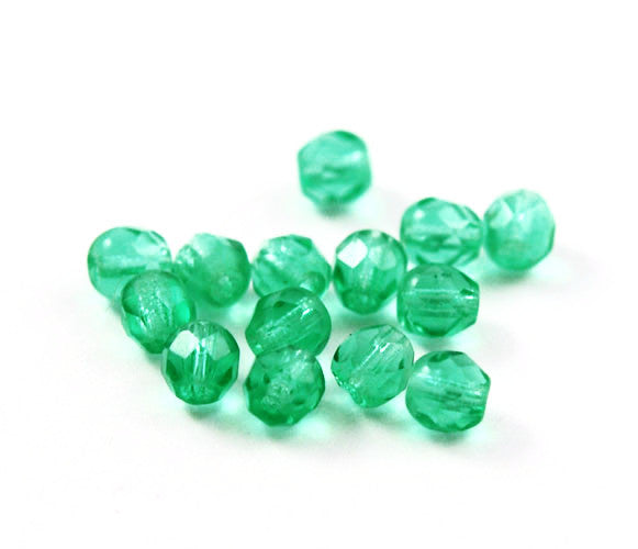 Light Green Faceted 6mm Round Beads