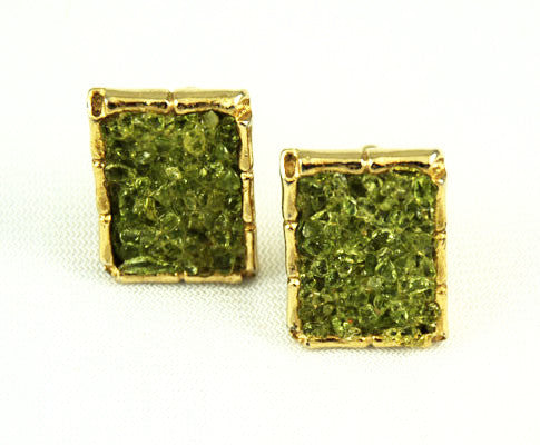 Peridot Gold Plated Cuff Links