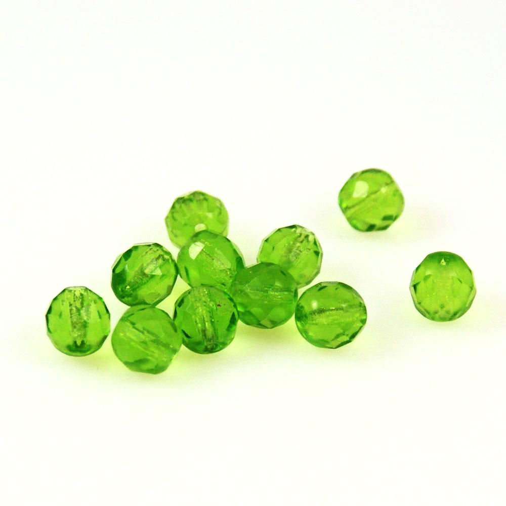 8mm Round Peridot AB Faceted Crystal Beads 12