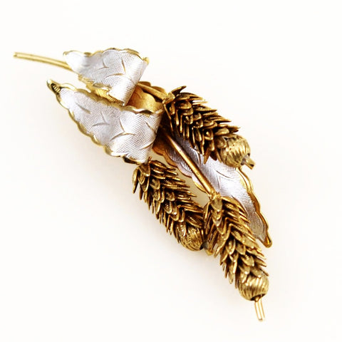 Pine Cone Enamel and Gold Plated Brooch Vintage