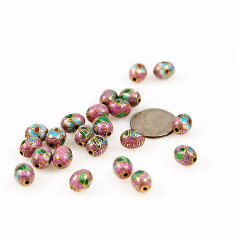 Pink Cloisonne Oval Beads Chinese 9 x 7mm