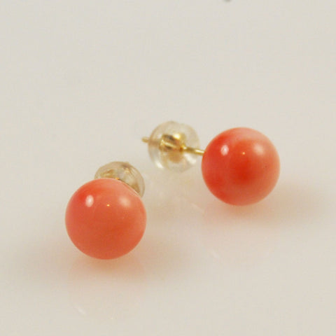 Pink Coral 8.5mm Button Earrings 14Kt Gold Posts