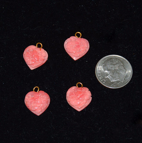 Dark Pink Carved Coral Heart Charms Pendants Floral