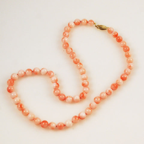 Pink Coral Necklace Gold Clasp
