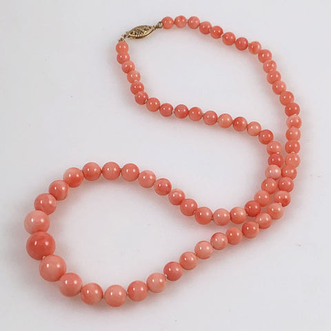 Pink Coral Necklace Graduated 14k