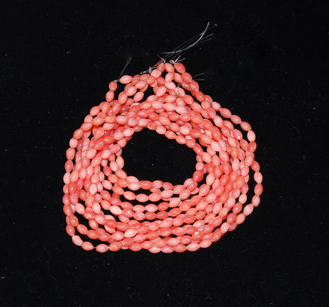 Pink Coral Oval Beads- Genuine natural undyed vintage strand