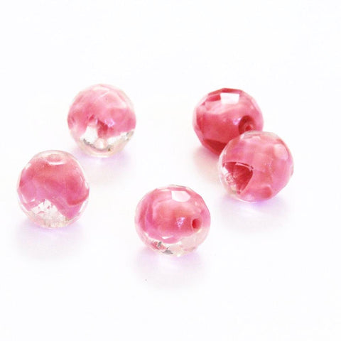 Pink Faceted Givre 12mm Glass Beads