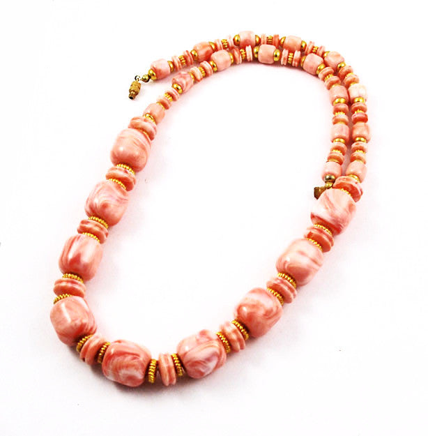 Vintage Coral Lucite Necklace