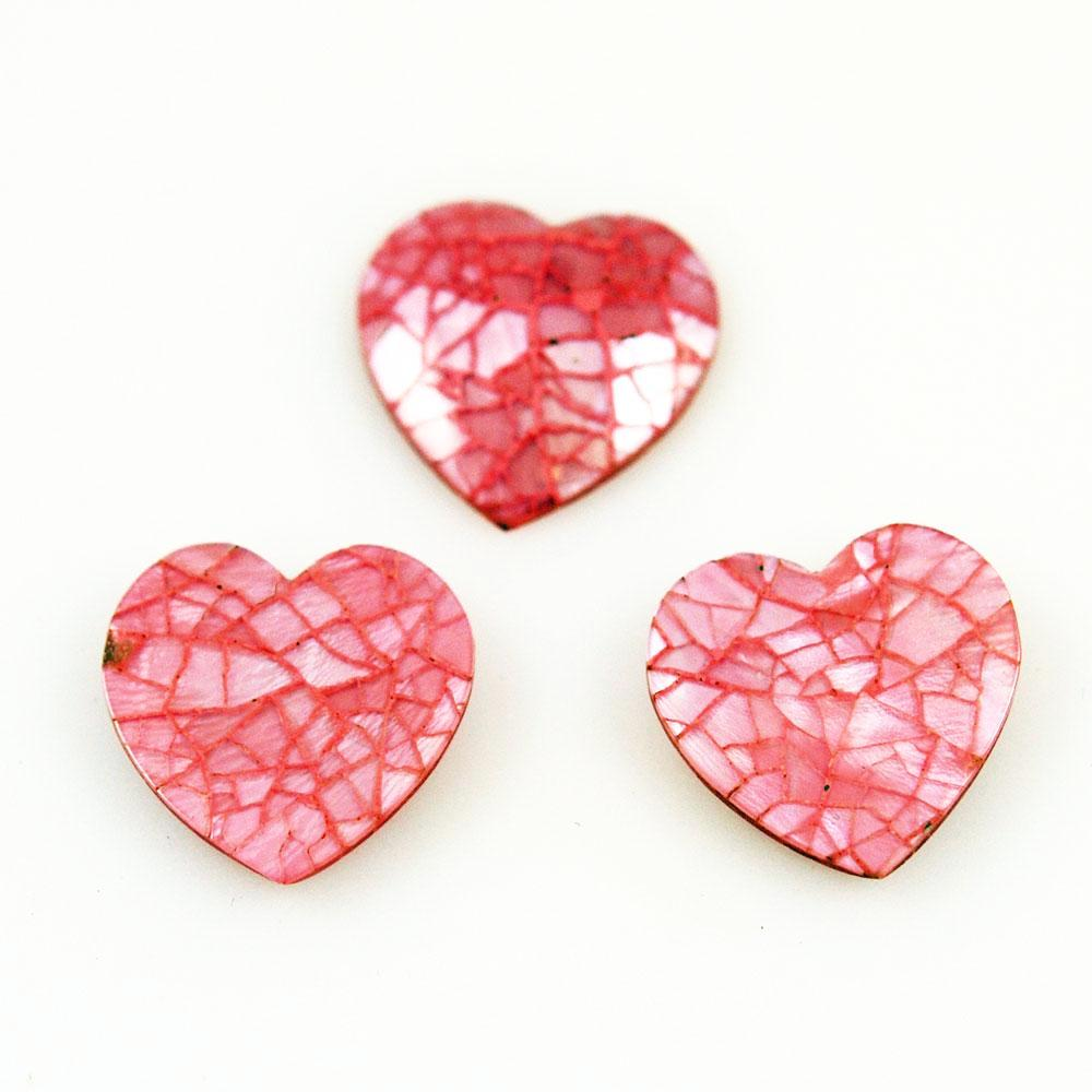 Pink Shell Crackled Hearts