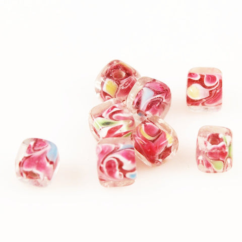 Pink Lamp Work Square Beads