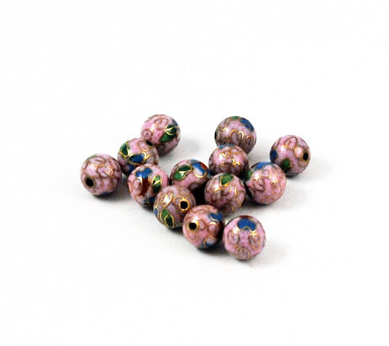 Cloisonne Rose Pink Round Beads Vintage Chinese