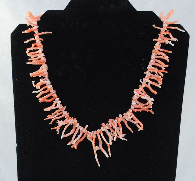 Angel Skin Pink Branch Coral Necklace with Sterling CZ Clasp