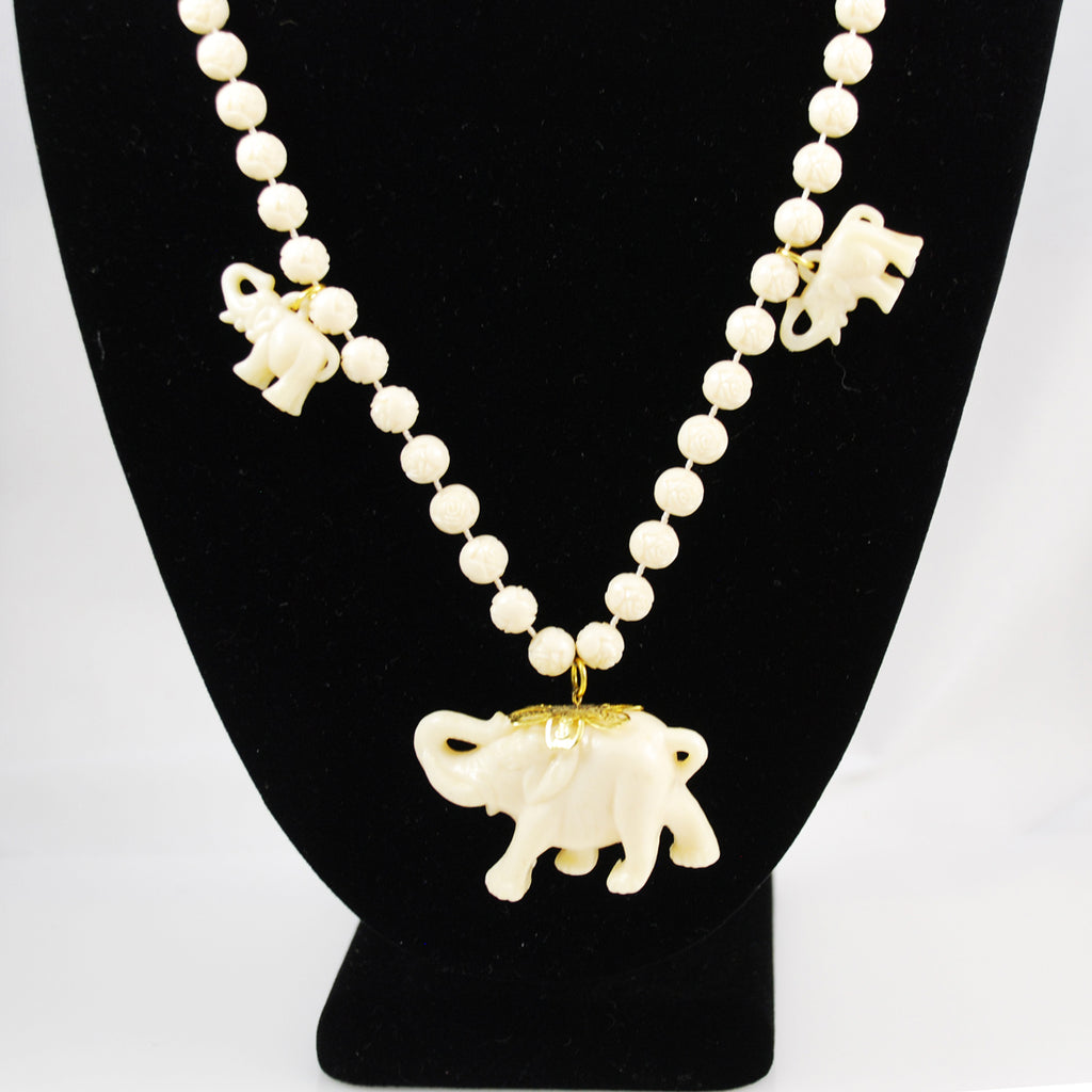 Plastic Ivory Elephant and Rose Bead Necklace Vintage