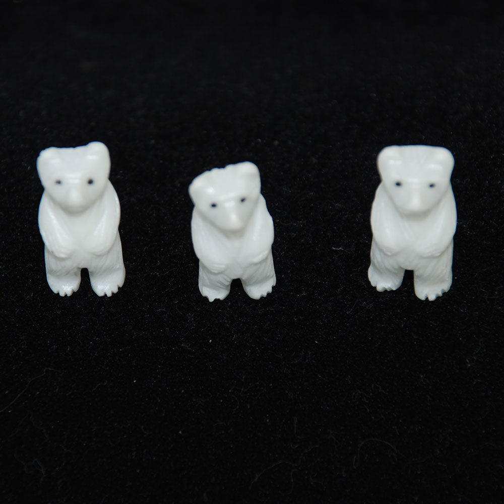 Carved Polar Bear Beads Genuine White Quartz
