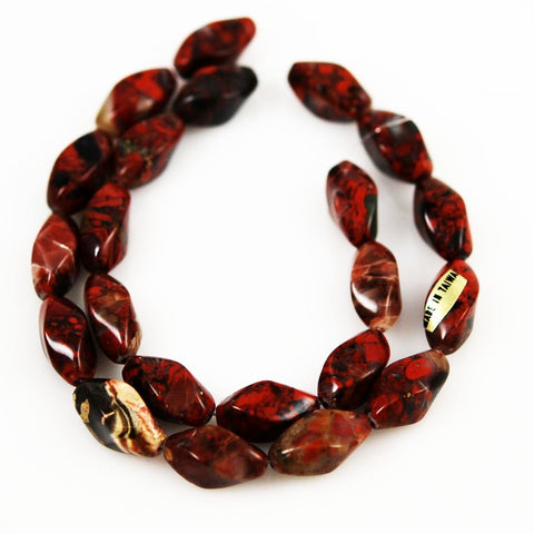 Poppy Jasper Twist Bead Strands