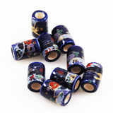 Blue & Gold Painted Porcelain Barrel Beads