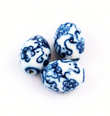 Blue and White Porcelain Oval Beads