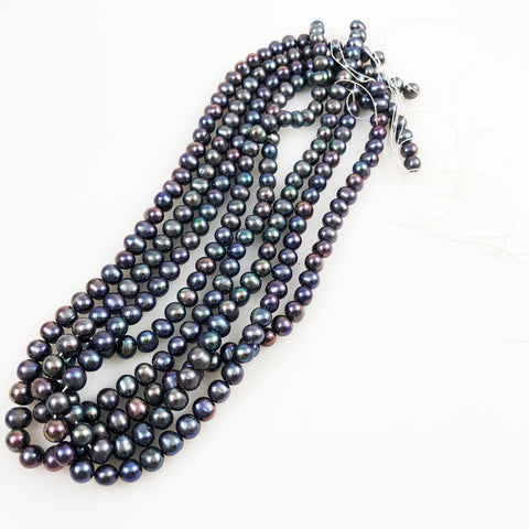 Purple Peacock Round Freshwater Pearl Beads Strand