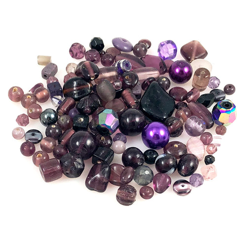 Vintage purple glass bead mixture
