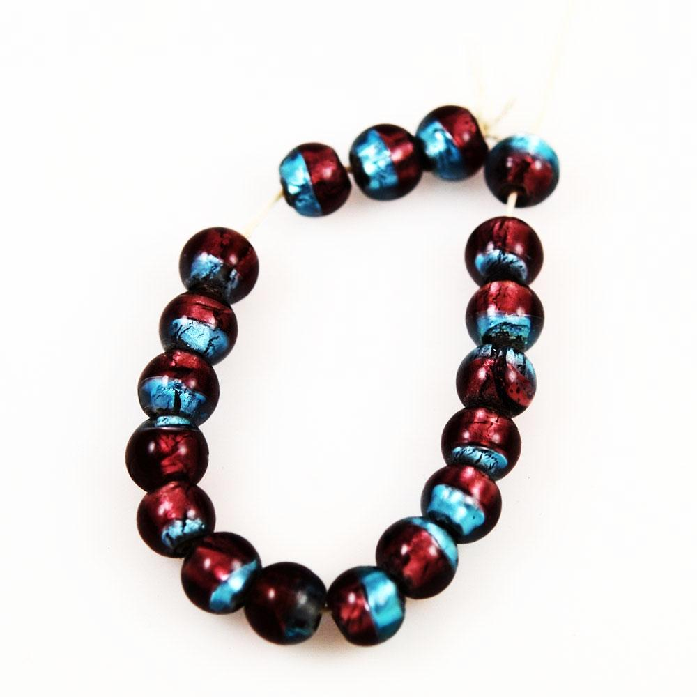 Purple and Blue Silver Foil Beads