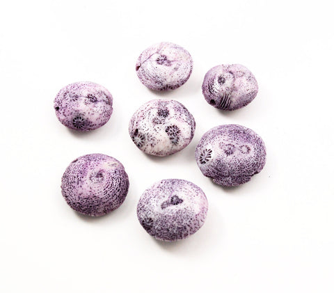 Purple Coral Disk Beads