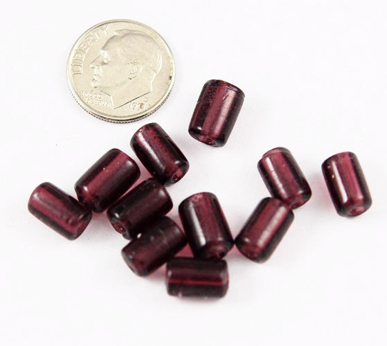 Purple Lamp Work Tube Beads