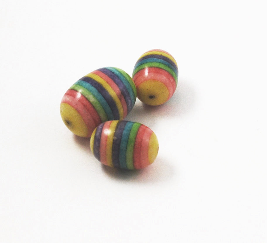 Rainbow Coral Oval Beads Vintage 1960's Colorful