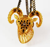 Back of Razza Zodiac Aries Ram Necklace Vintage