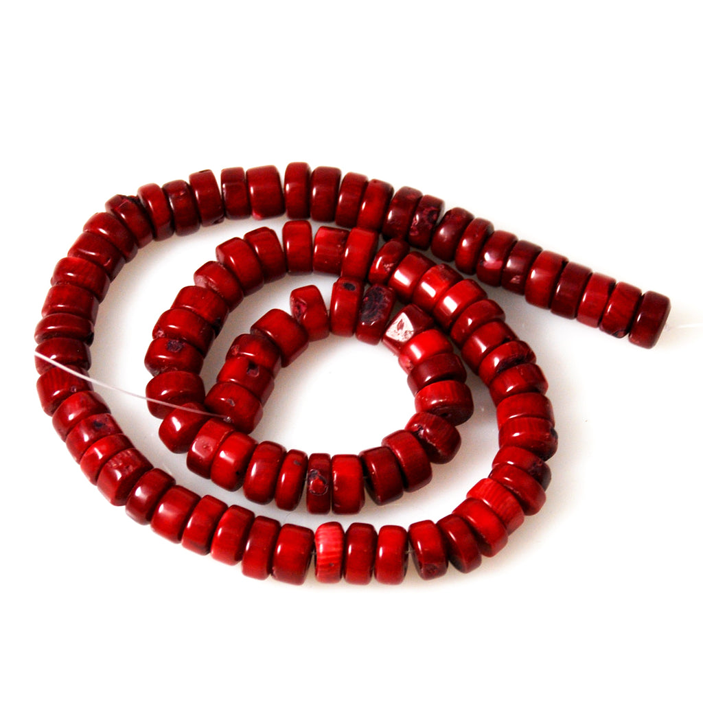 Red Bamboo Coral Rondelle Strands