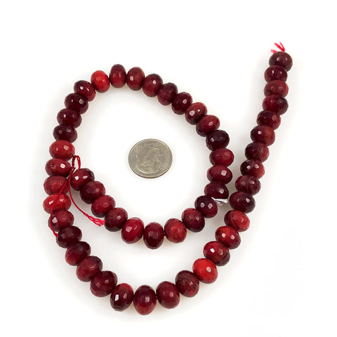 Red Bamboo Faceted 10mm Rondelle Strands