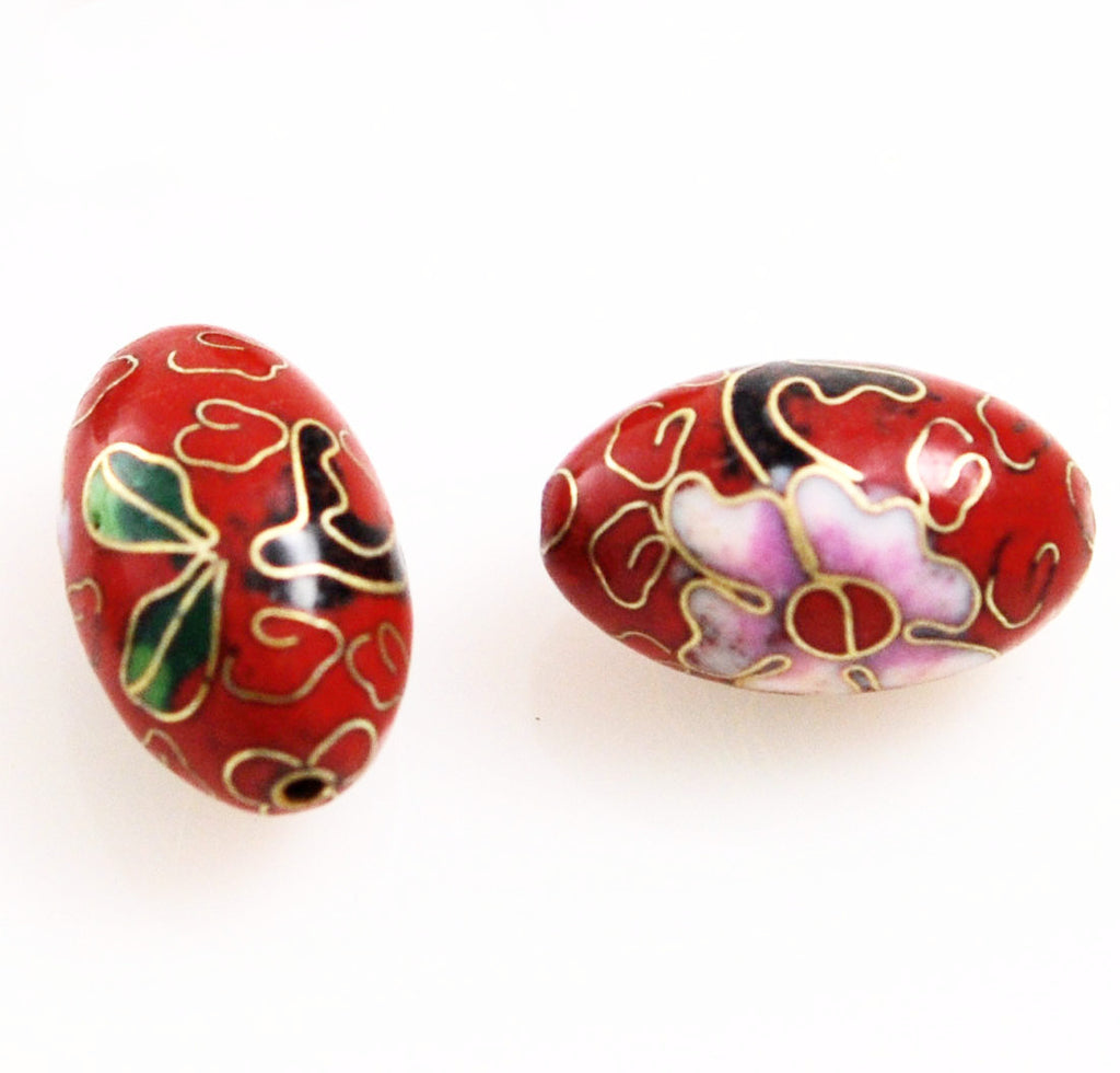 Red Cloisonne Large Oval Beads 25x15mm